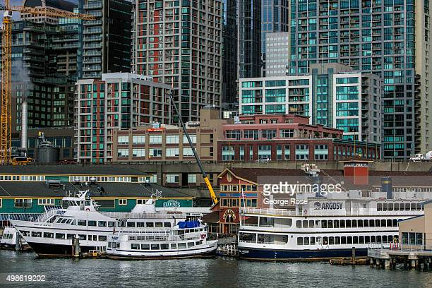 The waterfront and downtown skyline is viewed from the Bainbridge Island Ferry on November 4 in Seattle Washington Seattle located in King County is...