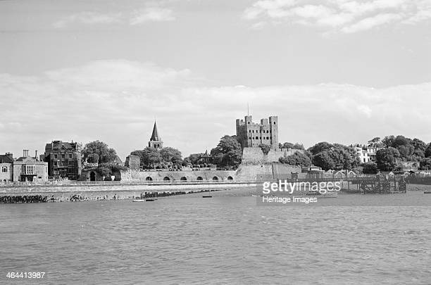 The waterfront at Rochester Kent 19451965 showing the Norman castle and cathedral seen from a boat in the River Medway