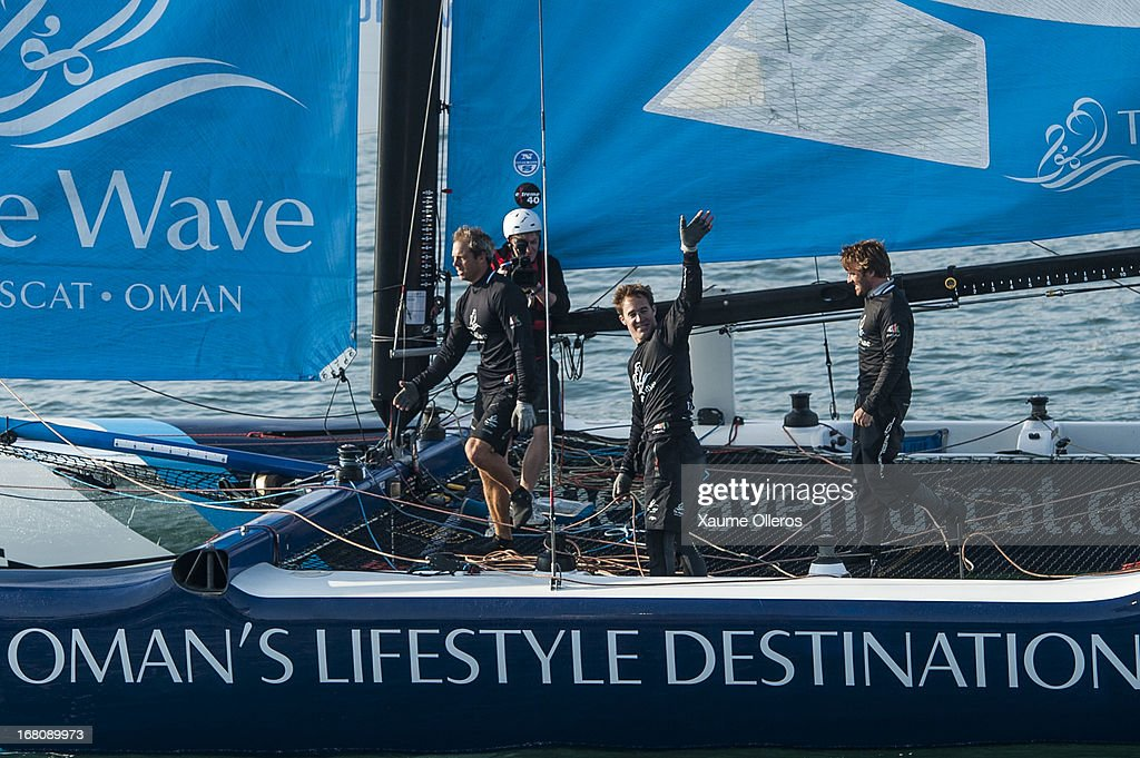The Wave, Muscat crew celebrate after winning Act 3 of the Extreme Sailing Series on May 5, 2013 in Qingdao, China.
