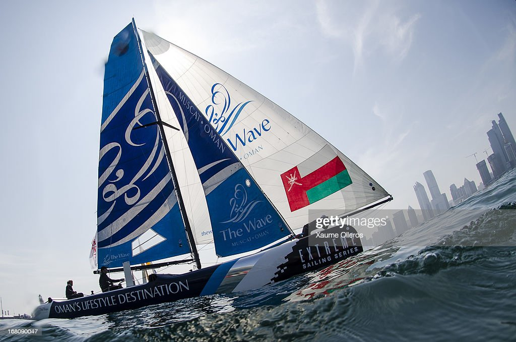 The Wave, Muscat in action during day four of the Extreme Sailing Series on May 5, 2013 in Qingdao, China.