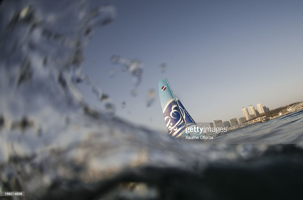 The Wave, Muscat in action during day three of the Extreme Sailing Series on May 4, 2013 in Qingdao, China.