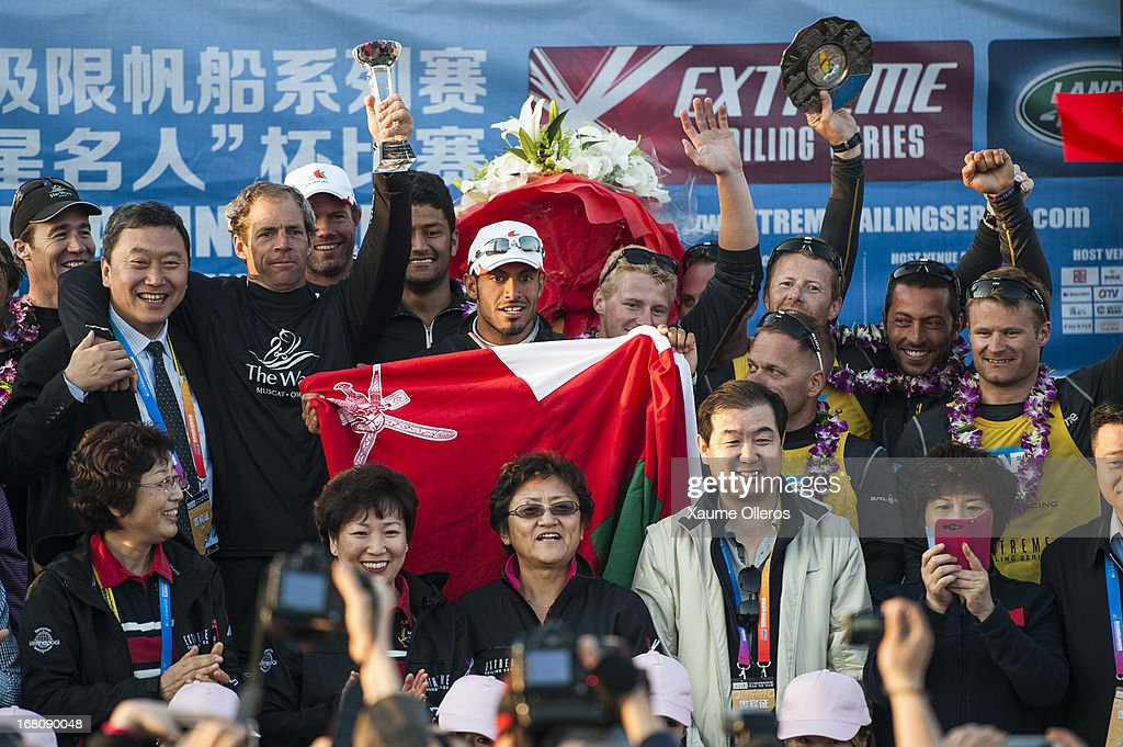 The Wave, Muscat team celebrate after winning the Act 3 of the Extreme Sailing Series on May 5, 2013 in Qingdao, China.