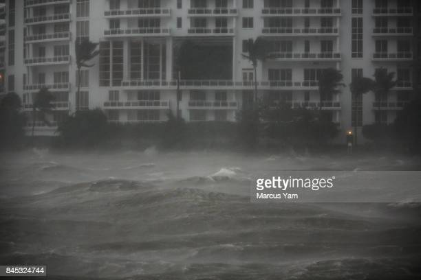 The waves on the Miami river begin to surge as the wind picks up speed as Hurricane Irma slowly approaches in Miami Fla on Sept 10 2017