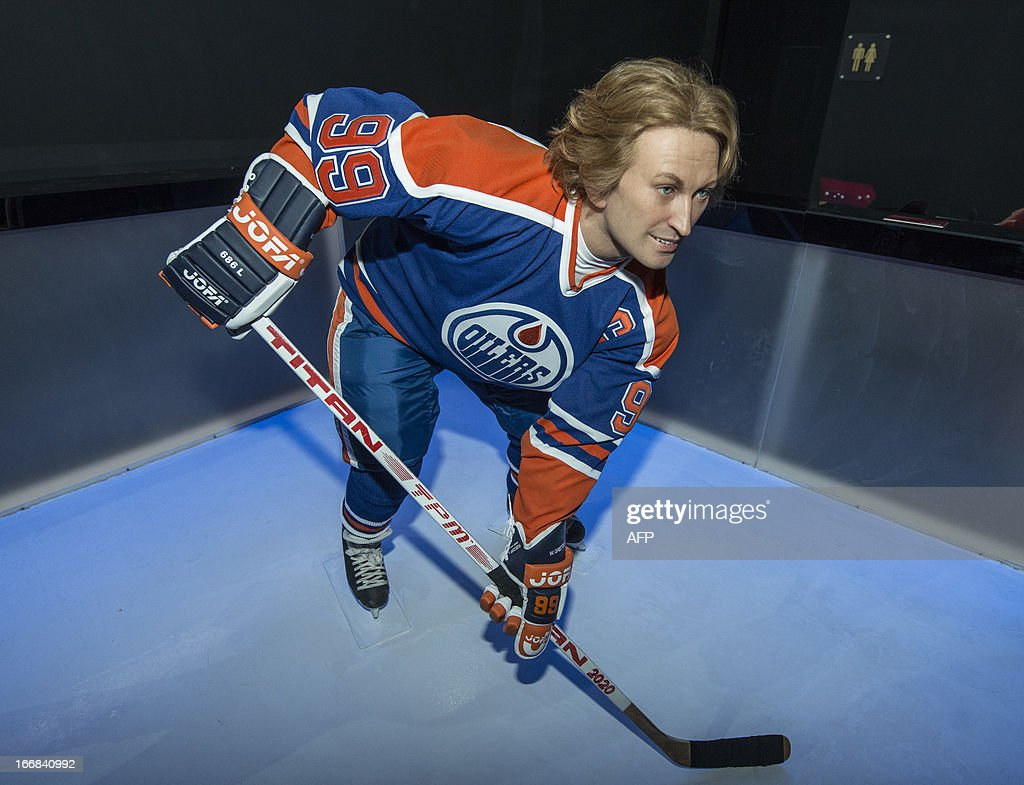 The wax figure of hockey hall of famer Wayne Gretzky is seen during the grand opening of the Grévin Montréal, Quebec's newest entertainment and tourist attraction, on April 17, 2013 at the Eaton Center in Montreal, Quebec, Canada.