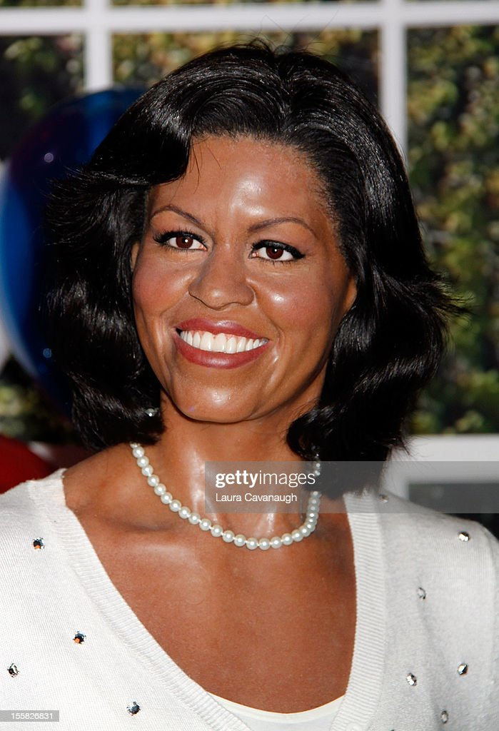 The wax figure of <a gi-track='captionPersonalityLinkClicked' href=/galleries/search?phrase=Michelle+Obama&family=editorial&specificpeople=2528864 ng-click='$event.stopPropagation()'>Michelle Obama</a> is featured as Madame Tussauds New York celebrates President Barack Obama's reelection at Madame Tussauds on November 8, 2012 in New York City.