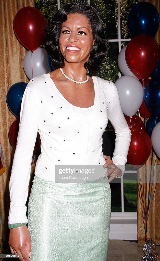 The wax figure of Michelle Obama is featured as Madame Tussauds New York celebrates President Barack Obama's reelection at Madame Tussauds on November 8, 2012 in New York City.