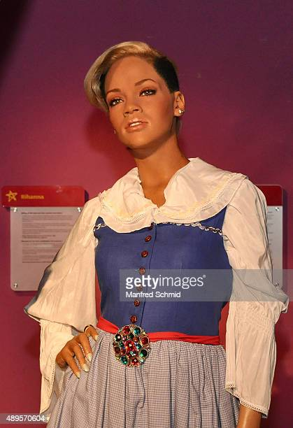 The wax figure of Rihanna in traditional Austrian Dirndl on display during the Wiener Wiesn photocall at Madame Tussauds Vienna on September 22 2015...