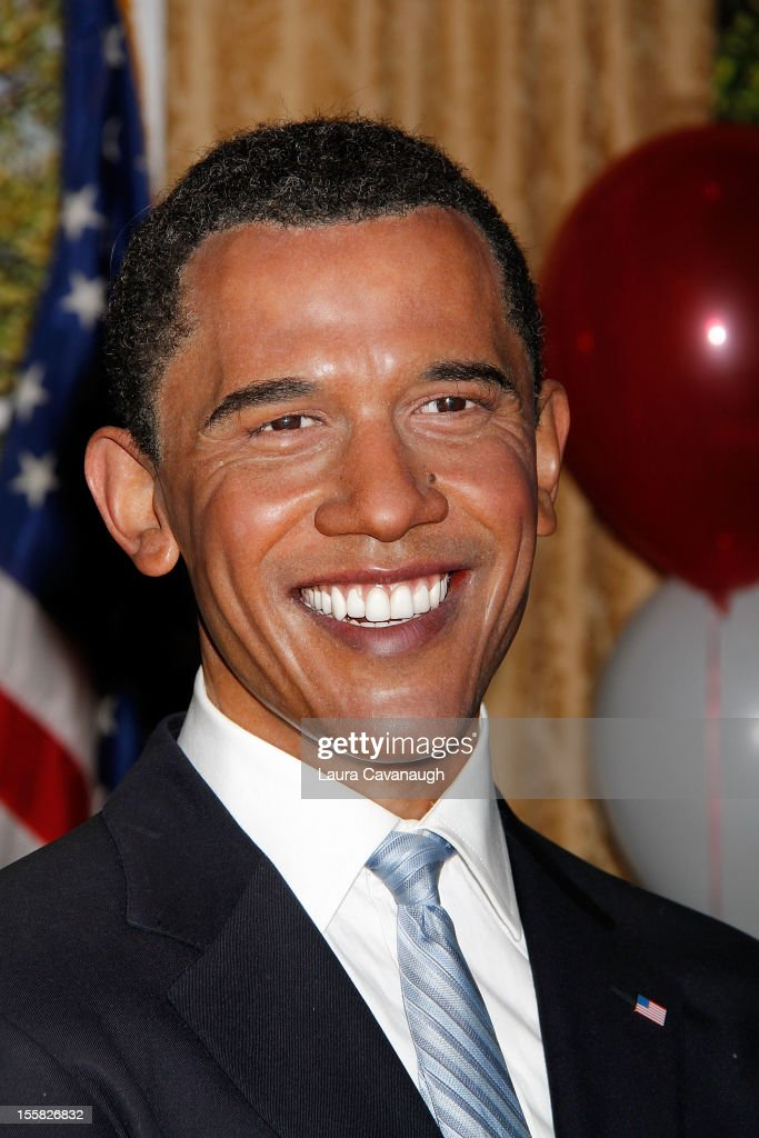 The wax figure of U.S. President <a gi-track='captionPersonalityLinkClicked' href=/galleries/search?phrase=Barack+Obama&family=editorial&specificpeople=203260 ng-click='$event.stopPropagation()'>Barack Obama</a> is featured as Madame Tussauds New York celebrates President <a gi-track='captionPersonalityLinkClicked' href=/galleries/search?phrase=Barack+Obama&family=editorial&specificpeople=203260 ng-click='$event.stopPropagation()'>Barack Obama</a>'s reelection at Madame Tussauds on November 8, 2012 in New York City.