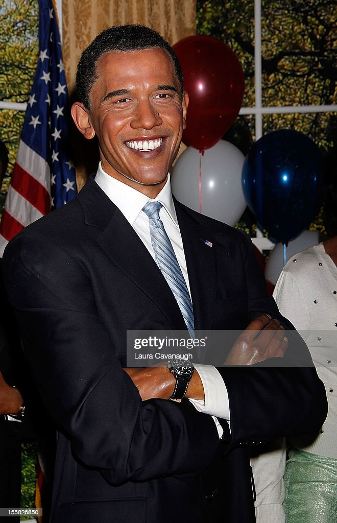The wax figure of U.S. President Barack Obama is featured as Madame Tussauds New York celebrates President Barack Obama's reelection at Madame Tussauds on November 8, 2012 in New York City.