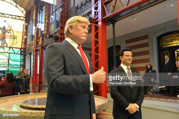 The wax figure of US President Donald Trump stands next to that of Mexican President Enrique Pena Nieto at the Museo de Cera on January 31 2017 in...