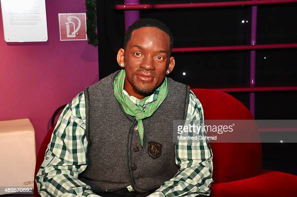 The wax figure of Will Smith in traditional Austrian dress on display during the Wiener Wiesn photocall at Madame Tussauds Vienna on September 22...