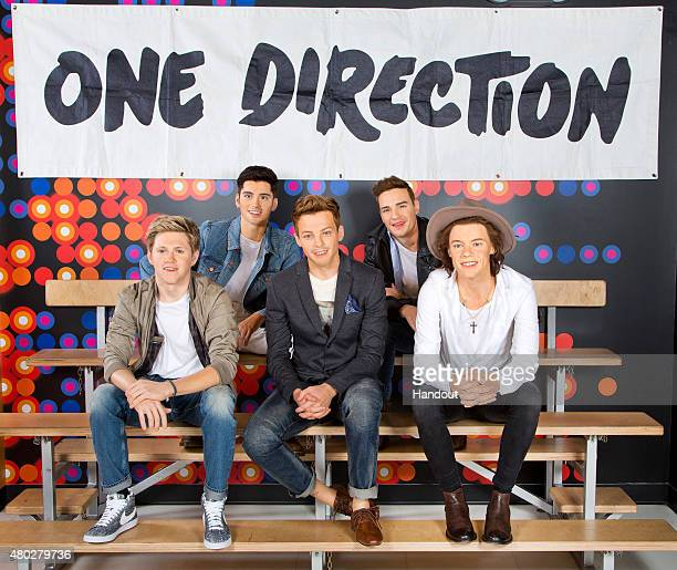 The wax figures depicting Niall Horan Liam Payne Harry Styles and Louis Tomlinson of One Direction are displayed at Madame Tussauds July 8 2015 in...