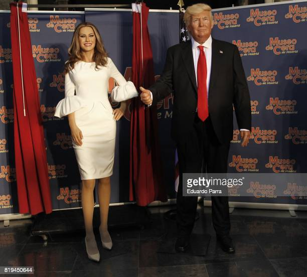 The wax figures of Melania Trump and Donald Trump are displayed at the Wax Museum on July 20 2017 in Madrid Spain