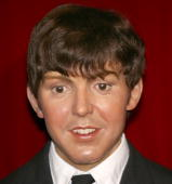 The wax figures of Paul McCartney of The Beatles is seen on display at the Tokyo Tower Wax Museum on March 24 2006 in Tokyo Japan The wax figures...