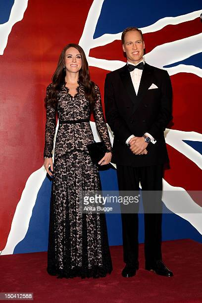 The wax figures of Prince William Duke of Cambridge and Catherine Duchess of Cambridge are unveiled at 'Madame Tussauds Berlin' on August 17 2012 in...