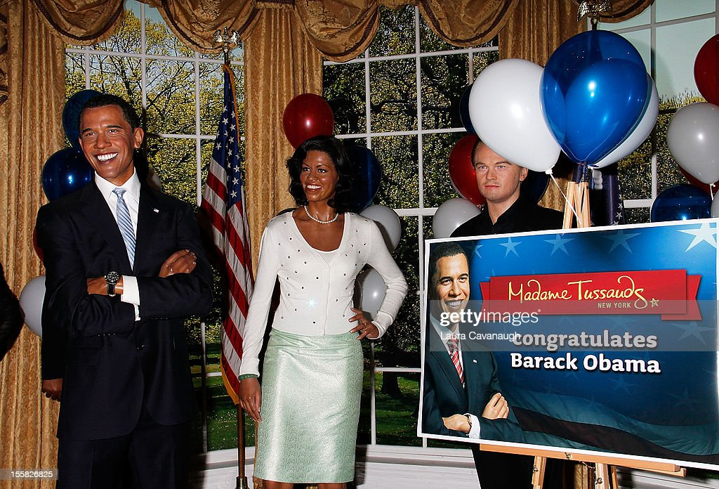 The wax figures of U.S. President <a gi-track='captionPersonalityLinkClicked' href=/galleries/search?phrase=Barack+Obama&family=editorial&specificpeople=203260 ng-click='$event.stopPropagation()'>Barack Obama</a> and First Lady Michele Obama are featured as Madame Tussauds New York celebrates President <a gi-track='captionPersonalityLinkClicked' href=/galleries/search?phrase=Barack+Obama&family=editorial&specificpeople=203260 ng-click='$event.stopPropagation()'>Barack Obama</a>'s reelection at Madame Tussauds on November 8, 2012 in New York City.