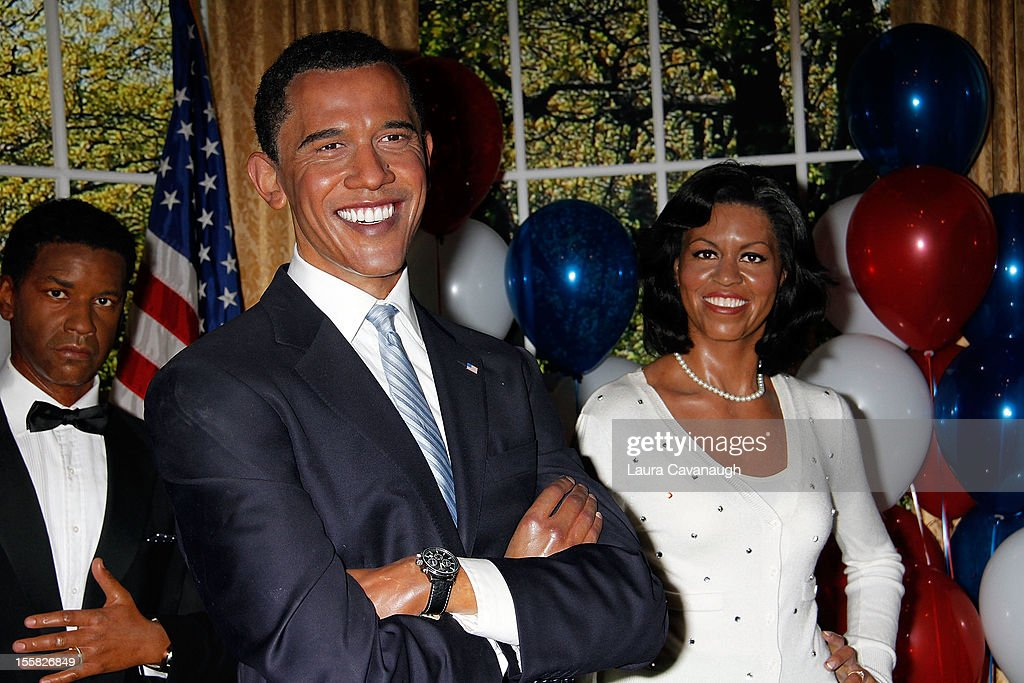 The wax figures of U.S. President Barack Obama and First Lady Michele Obama are featured as Madame Tussauds New York celebrates President Barack Obama's reelection at Madame Tussauds on November 8, 2012 in New York City.
