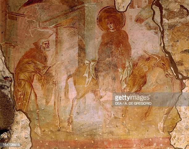 The way to Bethlehem fresco by the Master of Castelseprio Church of Santa Maria Foris Portas Castelseprio Italy 9th century