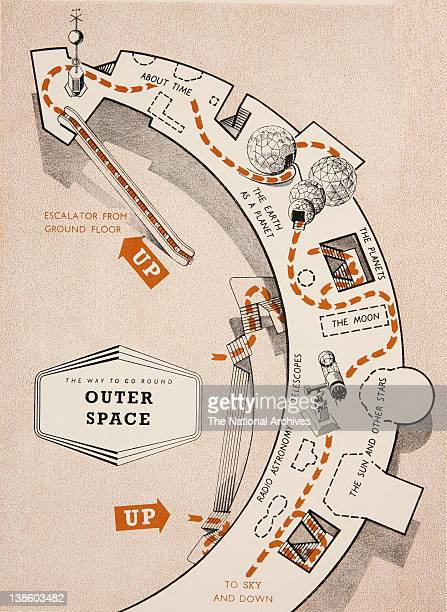 The way to go round' the Outer Space exhibit Festival of Britain 1951 floorplan