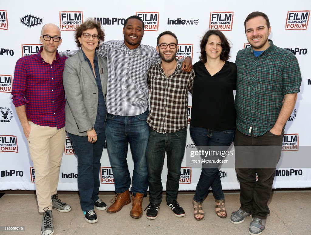 'The Way, Way Back' co-writer and co-director <a gi-track='captionPersonalityLinkClicked' href=/galleries/search?phrase=Jim+Rash&family=editorial&specificpeople=742689 ng-click='$event.stopPropagation()'>Jim Rash</a>, <a gi-track='captionPersonalityLinkClicked' href=/galleries/search?phrase=Anne+Thompson&family=editorial&specificpeople=1278298 ng-click='$event.stopPropagation()'>Anne Thompson</a> of Thompson on Hollywood, 'Fruitvale Station' writer/director <a gi-track='captionPersonalityLinkClicked' href=/galleries/search?phrase=Ryan+Coogler&family=editorial&specificpeople=7316581 ng-click='$event.stopPropagation()'>Ryan Coogler</a>, 'Kill Your Darlings' writer/director/producer <a gi-track='captionPersonalityLinkClicked' href=/galleries/search?phrase=John+Krokidas&family=editorial&specificpeople=10125419 ng-click='$event.stopPropagation()'>John Krokidas</a>, 'Concussion' writer/director <a gi-track='captionPersonalityLinkClicked' href=/galleries/search?phrase=Stacie+Passon&family=editorial&specificpeople=10014901 ng-click='$event.stopPropagation()'>Stacie Passon</a> and 'C.O.G.' director Kyle Patrick Alvarez onstage at the Film Independent Forum at the DGA Theater on October 27, 2013 in Los Angeles, California.