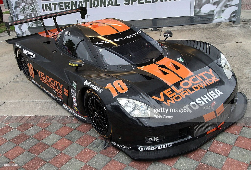 The #10 Wayne Taylor Racing Velocity Worldwide Corvette Dallara DP of Max Angelelli, Jordan Taylor and Ryan Hunter-Reay is displayed after a press conference announcing Velocity Worldwide as its new sponsor at Daytona International Speedway on January 3, 2013 in Daytona Beach, Florida.