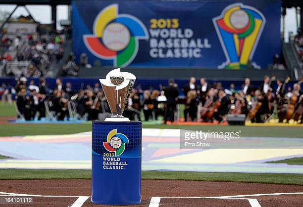The WBC Trophy is seen during the Championship Round of the 2013 World Baseball Classic between the Dominican Republic and the Puerto Rico at ATT...