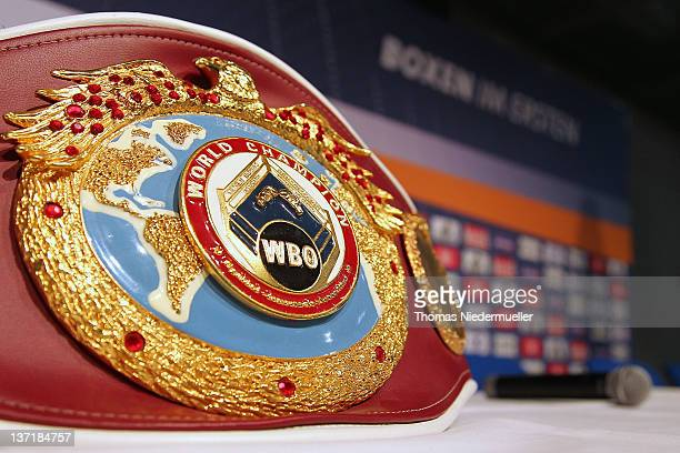 The WBO world champion belt lies on a table prior to a press conference at the Porsche Arena on January 16 2012 in Stuttgart Germany The WBA heavy...