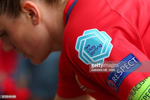 The We play strong and respect badges on a players shirt during the UEFA Women's Euro 2017 match between Norway and Belgium at Rat Verlegh Stadion on...