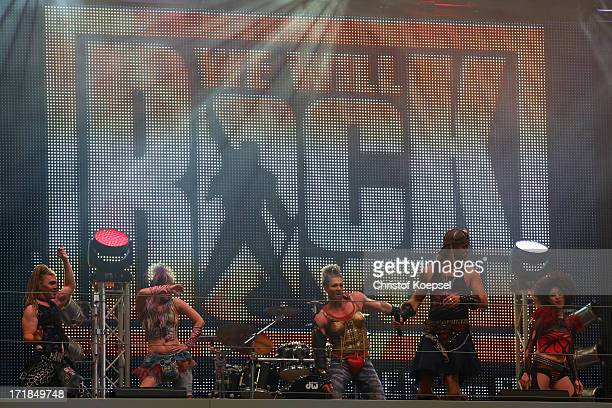 The We will Rock you Musical sings during the FC Schalke 04 annual meeting at Veltins Arena on June 29 2013 in Gelsenkirchen Germany