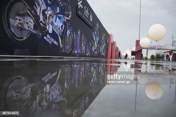 The weather condition in paddock during the MotoGp of Qatar Qualifying at Losail Circuit on March 25 2017 in Doha Qatar
