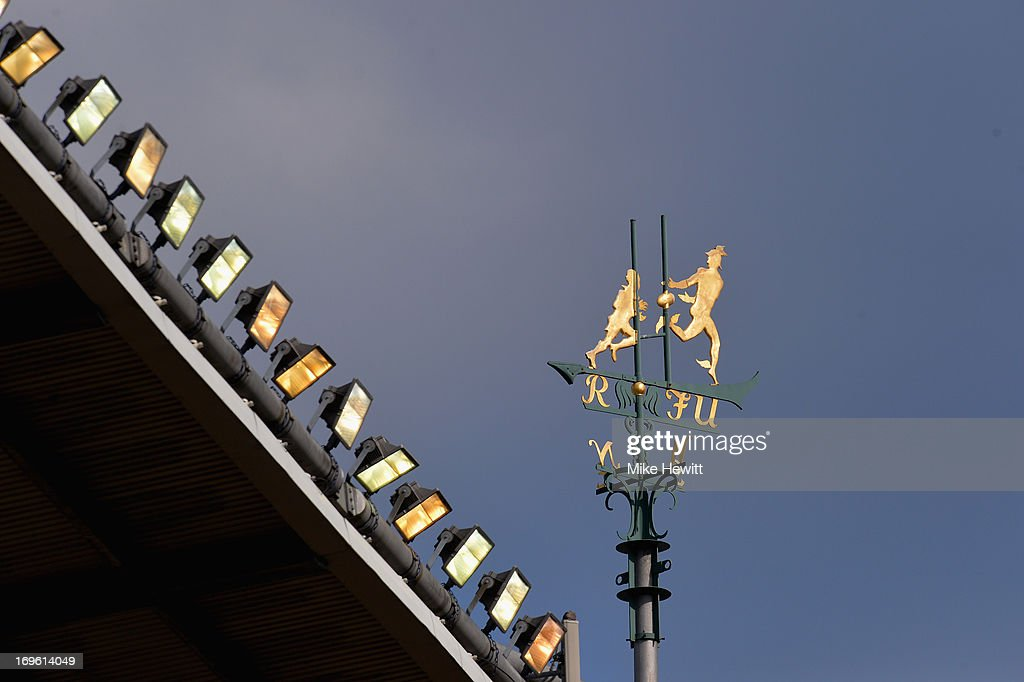 The weather vane on the roof of the stand shines in the spring sunshine during the Aviva Premiership Final between Leicester Tigers and Northampton Saints at Twickenham Stadium on May 25, 2013 in London, England.