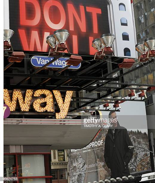 The Weatherproof Garment Company's billboard is seen in Times Square in New York on January 7 2010 featuring a photograph of US President Barack...
