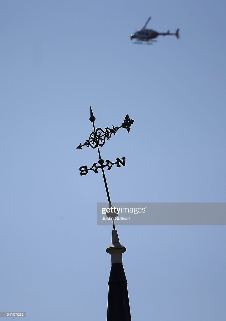 The weathervane leans atop the steeple of the First Presbyterian Church on August 25, 2014 in Napa, California. A day after a 6.0 earthquake rocked the Napa Valley, residents and wineries are continuing clean up operations.
