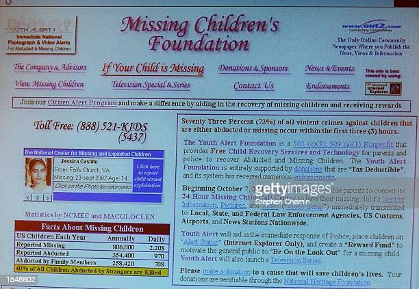 The web page of Youth Alert the nations first rapid response system designed to locate missing or abducted children is seen on a video screen during...