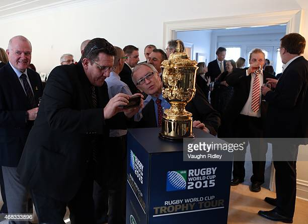 The Webb Ellis Cup at a reception hosted by the British Consulate General in Toronto as part of the Rugby World Cup Trophy Tour delivered in...