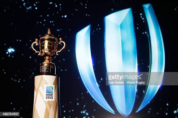 The Webb Ellis cup is displayed during the World Rugby Awards 2015 at Battersea Evolution on November 1 2015 in London England