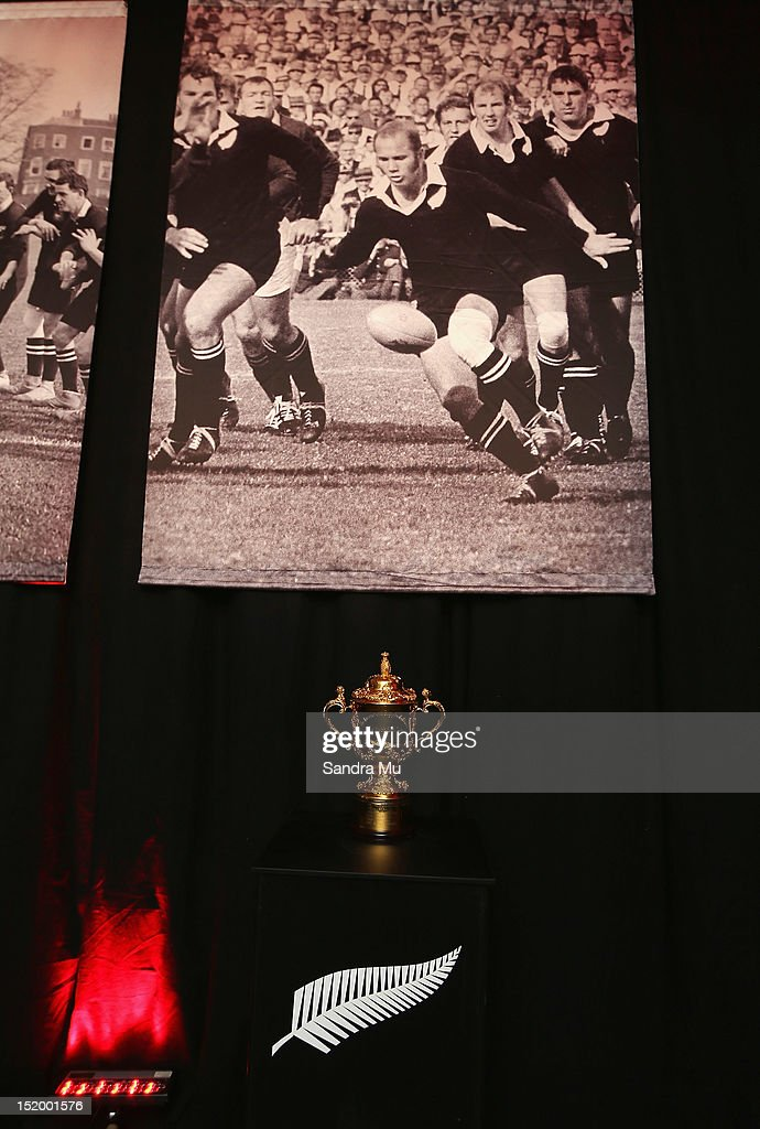 The Webb Ellis Cup is on display during the New Zealand All Blacks reunion dinner on September 14, 2012 in Dunedin, New Zealand.