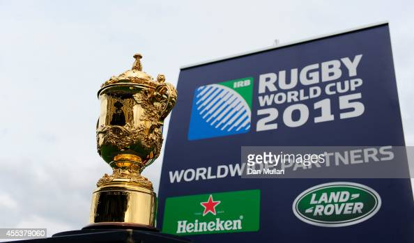The Webb Ellis Cup is seen ahead of the Aviva Premiership match between Exeter Chiefs and Leicester Tigers at Sandy Park on September 13 2014 in...