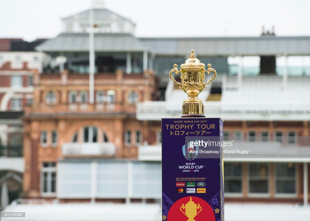 The Webb Ellis Cup is seen during the Rugby World Cup 2019 Trophy Tour at Lords on November 14, 2017 in London, England.