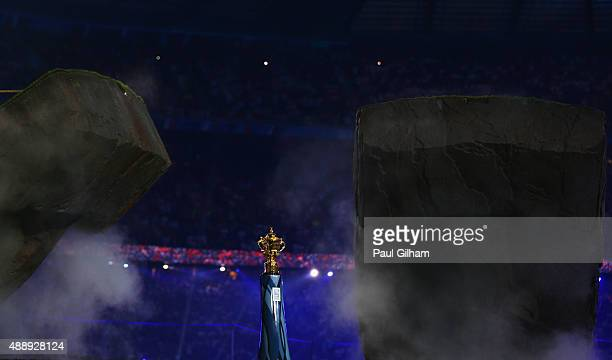 The Webb Ellis Cup is unveiled during the opening ceremony ahead of the 2015 Rugby World Cup Pool A match between England and Fiji at Twickenham...