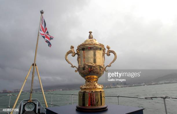 The Webb Ellis Cup onboard HMS Iron Duke entering Cape Town Harbour during the Rugby World Cup Trophy Tour in partnership with Land Rover and DHL...