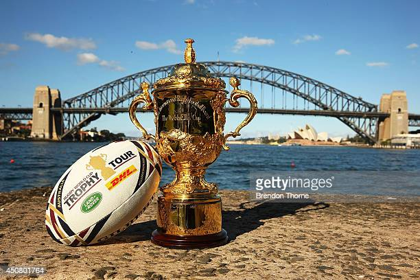 The Webb Ellis Cup sits in front of the Sydney Harbour Bridge and Sydney Opera House during the Rugby World Cup Trophy Tour in partnership with Land...