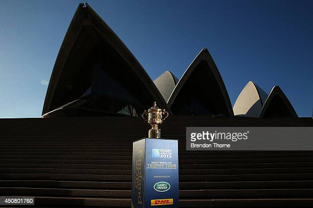 The Webb Ellis Cup sits in front of the Sydney Opera House during the Rugby World Cup Trophy Tour in partnership with Land Rover and DHL on June 18...