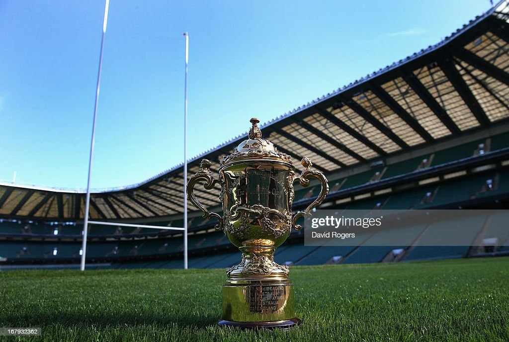 The Webb Ellis Cup sits on the pitch during the IRB Rugby World Cup 2015 Schedule Annoucement held at Twickenham Stadium on May 2, 2013 in London, England. The 13 Match Venues and Host Cities selected are: Twickenham Stadium (London), Wembley Stadium (London), Olympic Stadium (London), Millennium Stadium (Cardiff), Manchester City Stadium (Manchester), St James' Park (Newcastle), Elland Road (Leeds), Leicester City Stadium (Leicester), Villa Park (Birmingham), Kingsholm Stadium (Gloucester), stadiummk (Milton Keynes), Brighton Community Stadium (Brighton) and Sandy Park (Exeter).