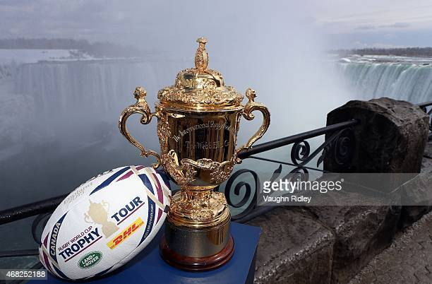 The Webb Ellis Cup visits Niagara Falls as part of the Rugby World Cup Trophy Tour delivered in partnership with Land Rover and DHL on March 31 2015...