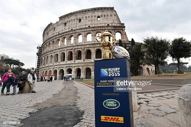 The Webb Ellis Cup visits the Colosseum Rome as part of the Rugby World Cup Trophy Tour delivered in partnership with Land Rover and DHL on January...