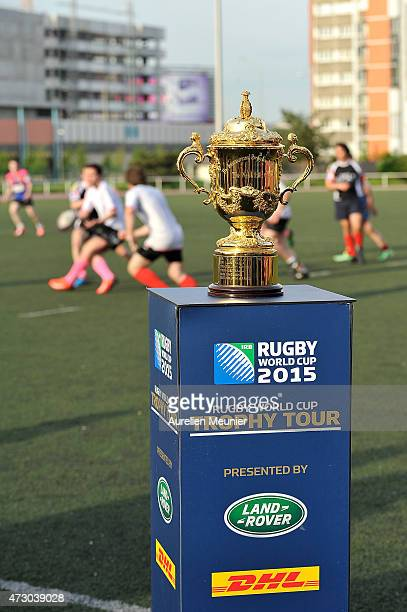 The Webb Ellis Cup visits the Paris Olympique Rugby Club during the Rugby World Cup Trophy Tour in partnership with Land Rover and DHL on May 11 2015...