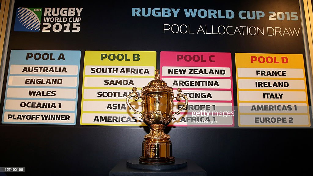 The Webb Ellis trophy is displayed during the media session following IRB Rugby World Cup 2015 pool allocation draw at the Blue Fin Building on December 3, 2012 in London, England.