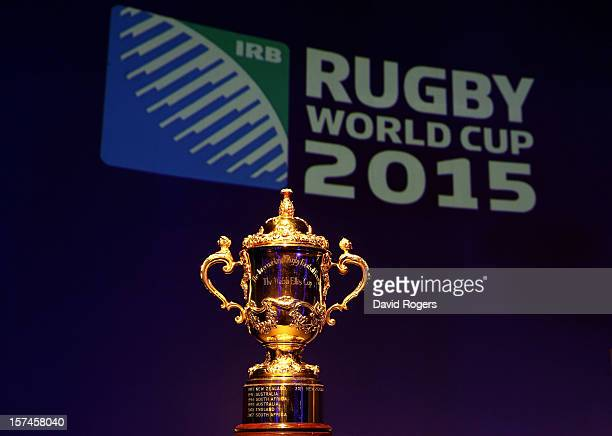 The Webb Ellis trophy is displayed prior to the IRB Rugby World Cup 2015 pool allocation draw at the Tate Modern on December 3 2012 in London England