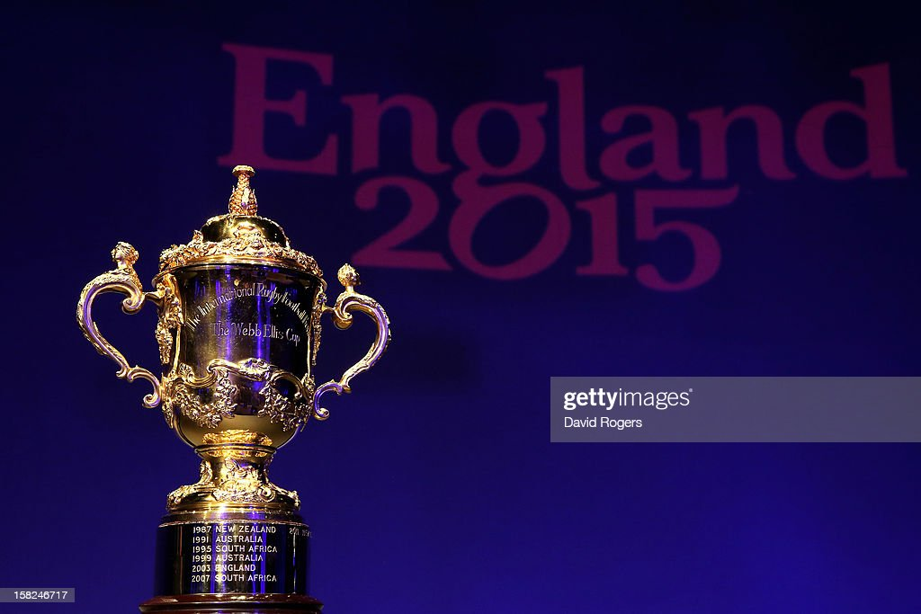 The Webb Ellis trophy is displayed prior to the IRB Rugby World Cup 2015 pool allocation draw at the Tate Modern on December 3, 2012 in London, England.